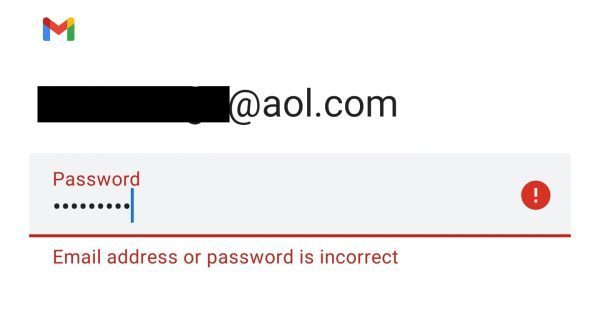 aol gmail password is incorrect